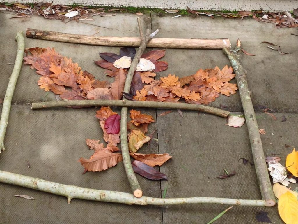 outdoor learning maths symmetry with autumn leaves
