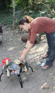 making bread on campfire