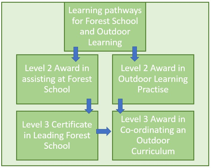 Cambium Training pathways flow chart for forest school and outdoor learning
